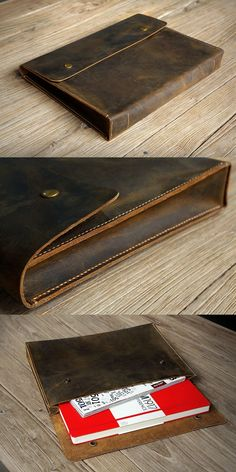This leather document holder is designed to carry papers ,document ,journal and also can hold a up to 13 inch laptop ,perfect for college students or office stuff . it is made from full grain leather and hand stitched with saddle stitching technique . Sewing Leather, Leather Pattern, Leather Craft, Leather Laptop Case, Leather Briefcase, Leather Clutch, Leather Purses, Leather Gifts, Leather Bags Handmade