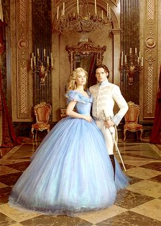 "Cinderella's Lily James and Richard Madden by Annie Leibovitz "" ""As for the Dress—the magical raiment that arrives courtesy of Cinderella's scatterbrained fairy godmother on the eve of the royal ball—it's a cerulean gown with a voluminous skirt..."