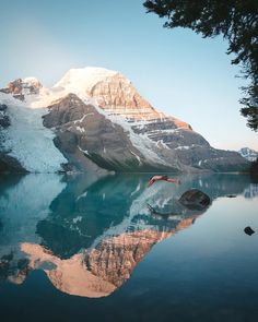 Berg Lake is a lake on the Robson River just below the river's source located within Mount Robson Provincial Park, at the doorstep of the north face of Mount Robson, the highest peak in the Canadian Rockies. It is partly fed by the Berg Glacier.  Surface elevation: 5,400′