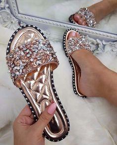Vintage Shoes Shoespie Stylish Flip Flop Rhinestone Slip-On Summer Slippers Cute Sandals, Cute Shoes, Me Too Shoes, Shoes Sandals, Flat Sandals, Shoes Sneakers, Yeezy Shoes, Unique Shoes, Converse Shoes