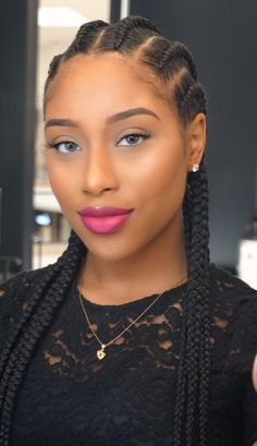 with braids Natural Braided Hairstyles, Natural Hair Braids, African Braids Hairstyles, Weave Hairstyles, Black Girl Braids, Braids For Black Hair, Girls Braids, Curly Hair Styles, Natural Hair Styles