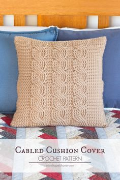 Cabled Throw Cushion Cover - Free Crochet Pattern                                                                                                                                                                                 More
