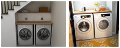 TUTORIAL, Laundry - 'Supporting the Laundry Counter' [Centerpointe Communicator / IKEA Hack, Part Numerar laundry] Laundry Room Bathroom, Basement Laundry, Ikea Trofast, Ikea Hackers, Butcher Block Countertops, Built In Bookcase, Under Stairs, Summer Diy, Sweet Home