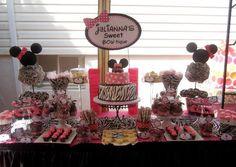 Minnie mouse zebra hot pink dessert table 1st birthday Sweet Bowtique