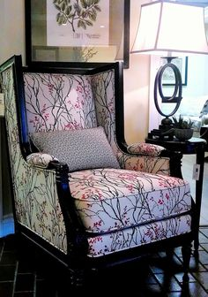 DIY Vintage French armchair redo. Reupholstered with hand painted cherry blossoms and painted black accent chair. #ad #livingroom #furniture #diy #vintage #frencharmchair #blackandwhite #cherryblossom