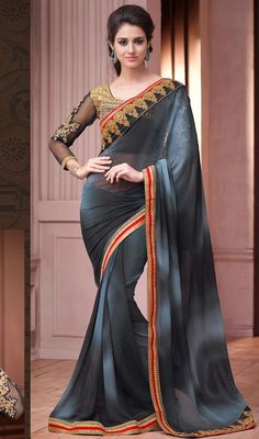 Give the girl next door a run for her money, dress into this black and slate gray color shade georgette sari. The crystals, stones, lace, patch, resham and sequins work appears to be like chic and fantastic for any get together. Upon request we can make round front/back neck and short 6 inches sleeves regular saree blouse also. #BlackAndGrayShadesOfSari