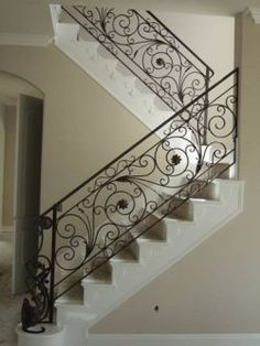 Steel Railing Design, Metal Stair Railing, Staircase Railings, Bannister, Grill Gate Design, Door Gate Design, Interior Staircase, Staircase Design, Wrought Iron Stair Railing