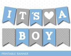 Blue and grey baby shower banner, It´s a boy, It´s a girl, PB-492