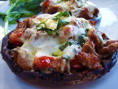 Grilled Portobello Mushrooms with Tomatoes and Fresh Mozzarella