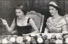 Princess Margaret and Queen Elizabeth II at the theatre