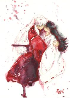 Inuyasha Kikyo Watercolor Painting Print by PascualProductions