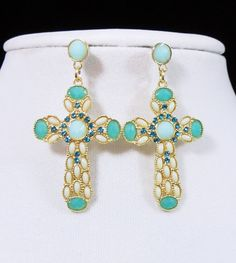 Cowgirl Bling MINT AQUA Rhinestones Pearl CROSS Christian EARRINGS Gypsy   our prices are WAY BELOW RETAIL! all JEWELRY SHIPS FREE! www.baharanchwesternwear.com baha ranch western wear ebay seller id soloedition