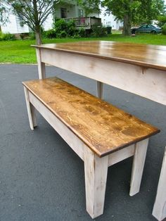 Modern Farmhouse Kitchen Table with Bench -- Hopefully the hubs can make this for me!