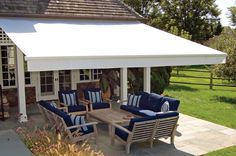 NuImage Retractable Awnings for decks, patios and windows; made in America for over 30 years. Ultra-high: Our standard for professional services provided exclusively by NuImage Pro authorized Awning Dealers. Wooden Patio Chairs, Wooden Patios, Fire Pit Backyard, Backyard Patio, Deck Awnings, Cantilever Patio Umbrella, Patio Furniture Covers, Retractable Awning, Cassette