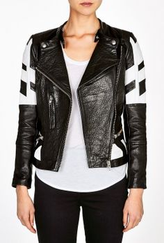 Limited Edition Hyde Black And White Leather Biker Jacket By