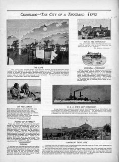 Coronado's Tent City, the city of a thousand tents. This page from The Tent City Daily Program