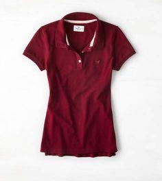 Summer Burgundy AEO Short Sleeve Polo
