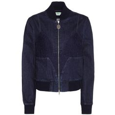 Stella McCartney Lace-Trimmed Denim Bomber Jacket ($1,315) ❤ liked on Polyvore featuring outerwear, jackets, blue, blouson jacket, blue bomber jacket, flight jacket, denim jacket and blue denim jacket