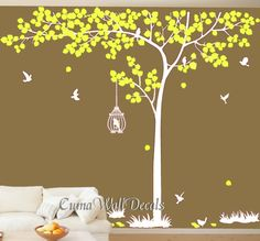 Nature wall decals big tree birdcage vinyl wall decals birds wall mural nursery wall decal office- Huge tree Z155 Cuma