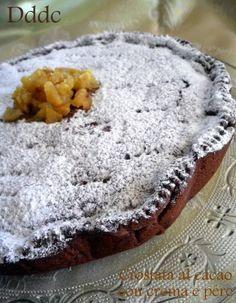 Cocoa tart with cre - Pies Recipes Ricotta, Sweet Corner, Italian Cake, Powder Recipe, Pie Recipes, Yummy Cakes, Nutella, Italian Recipes, Cheesecake