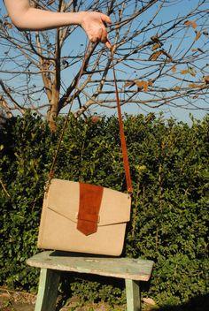 Leather canvas bag, leather shoulder bag, leather clutch, brown beige leather shoulder bag