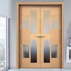 Sanrafael Lisa Glazed Double Door - Model K41V Oak Decape Prefinished. #contemporarydoubledoors #designerdoubledoors #designerdoors