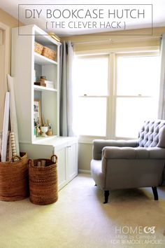 Turn an old bookshelf and some simple cuts of lumber into a perfect storage solution: a bookcase hutch.