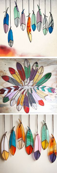 Stained glass feathers // handmade - love these! can easily make them using coated wire and stained glass craft paint Stained Glass Projects, Stained Glass Patterns, Stained Glass Art, Mosaic Glass, Fused Glass, Stained Glass Suncatchers, Diy And Crafts, Arts And Crafts, Ideias Diy