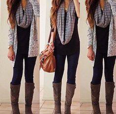 Leggings (or skinny jeans/pants), long top, cardigan, tall boots and an infinity scarf. My Fall/Winter go-to outfit.