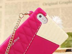 最新miumiuミュウミュウケースcaseアイフォンSE/5sシリコン製チェーン付きショルダー バッグ型ソフト携帯カバーおしゃれ女子向け