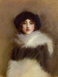 Mademoiselle Vaughan by Paul Helleu. #classic #art #painting