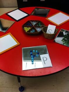 Learning to write: Creating letters with loose parts {from Adventures in Kindergarten: Discovery Time}