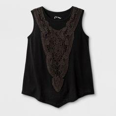 Girls' Knit Crochet Tank Top - Art Class Black XL, Soot Black