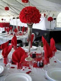 Red and white wedding table decorations table setting idea table setting idea red and white wedding . red and white wedding table decorations Red Wedding Decorations, Wedding Table Centerpieces, Wedding Themes, Wedding Colors, Red And Black Table Decorations, Red Centerpieces, Centerpiece Ideas, Decor Wedding, Reception Decorations