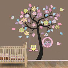Gaint 2pcs in 1 Wall Sticker owl tree baby nursery room decor decals mural art