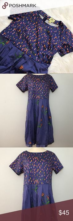 "Navy Floral A Line Dress Plus Size Disney's Alice through the looking glass collection Madcap Cottage short sleeve floral dress, size 16W. Dress is in overall great condition with no stains, rips, or snags. Dress has two pockets, one on each side, has a a slip inside with crinoline for slight fullness at bottom, and zips and buttons in the back. Measurements are approximately while lying flat: 42"" long, 20"" from armpit to armpit, 7"" sleeve. Feel free to ask any questions! Disney Dresses"