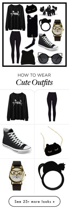 """A cat outfit"" by duckylovesshop on Polyvore featuring WithChic, Missguided, ZooShoo, George J. Love, Converse, JFR, women's clothing, women's fashion, women and female"