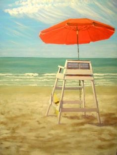Life Guard Chair Myrtle Beach Original Artwork Oil Painting Stretched Canvas…