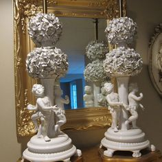 Pair Antique White Porcelain Roses Cherubs Lamps  #French