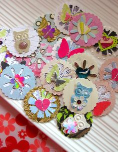 scrapbooking handmade paper embellishments by Rina A.W, via Flickr
