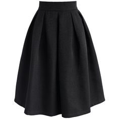 Chicwish Retain My Classic A-line Skirt in Black (£39) ❤ liked on Polyvore featuring skirts, pants, black, midi skirt, pleated skirt, knee length pleated skirt, calf length skirts and mid calf skirts