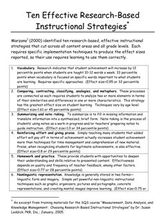 The Most Effective Instructional Strategies (Research Summary by Marzano)