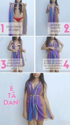 Modo de usar canga - vestido fofo
