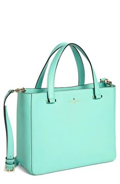 I love me a Kate Spade bag! And this color is amazing. kate spade new york 'park avenue sweetheart' leather crossbody tote, medium available at Crossbody Tote, Leather Crossbody, Kate Spade Crossbody Purse, Mode Orange, Dior, Aqua, Teal, Nordstrom, Cute Bags