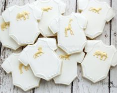 Gold Animal Onesie Baby Shower Cookies, Golden Safari Baby Shower, Gold Safari Animal Onesie cookies, Baby Shower Favors, Gold Animal Favor