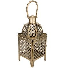 Gold Morrocan Lantern ($18) ❤ liked on Polyvore featuring home, home decor, candles & candleholders, gold lanterns, gold home accessories and gold home decor