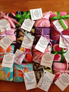 """Boo boo bags...5"""" fleece squares filled with rice. 20 seconds in the microwave = perfect winter hand warmers! Or keep in the freezer for a cold pack."""