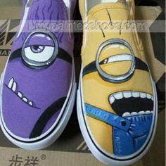 #minion vans shoes Despicable Me Unicorn Custom Painted Shoes van,Slip-on Painted Canvas Shoes