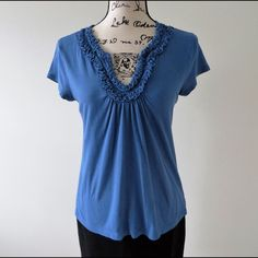 LOFT Blue Short Sleeve Top Short sleeve blue top from LOFT. Size S. Material 60% cotton, 40% modal. Gently worn, in good condition. LOFT Tops Blouses