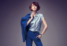 monochromatic suit x short #hairstyle :: Lee Da Hee